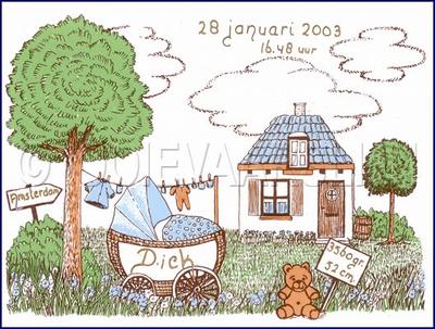 Landschap blauw  15 x 20 cm